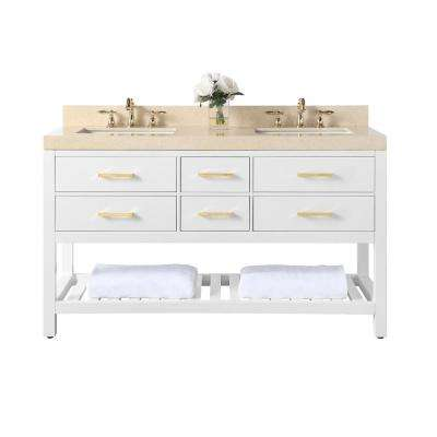 Elizabeth 60 in. W x 22 in. D Bath Vanity with Marble Vanity Top in Galala Beige with White Basins and Gold Hardware