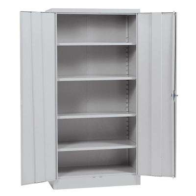 72 in. H x 36 in. W x 18 in. D Steel 4-Shelf Quick Assembly Freestanding Storage Cabinet in Dove Grey