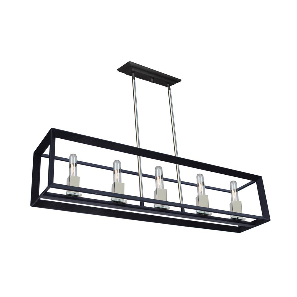 5-Light Black and Chrome Billiard Light