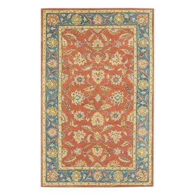 Old London Terra/Blue 6 ft. x 9 ft. Area Rug