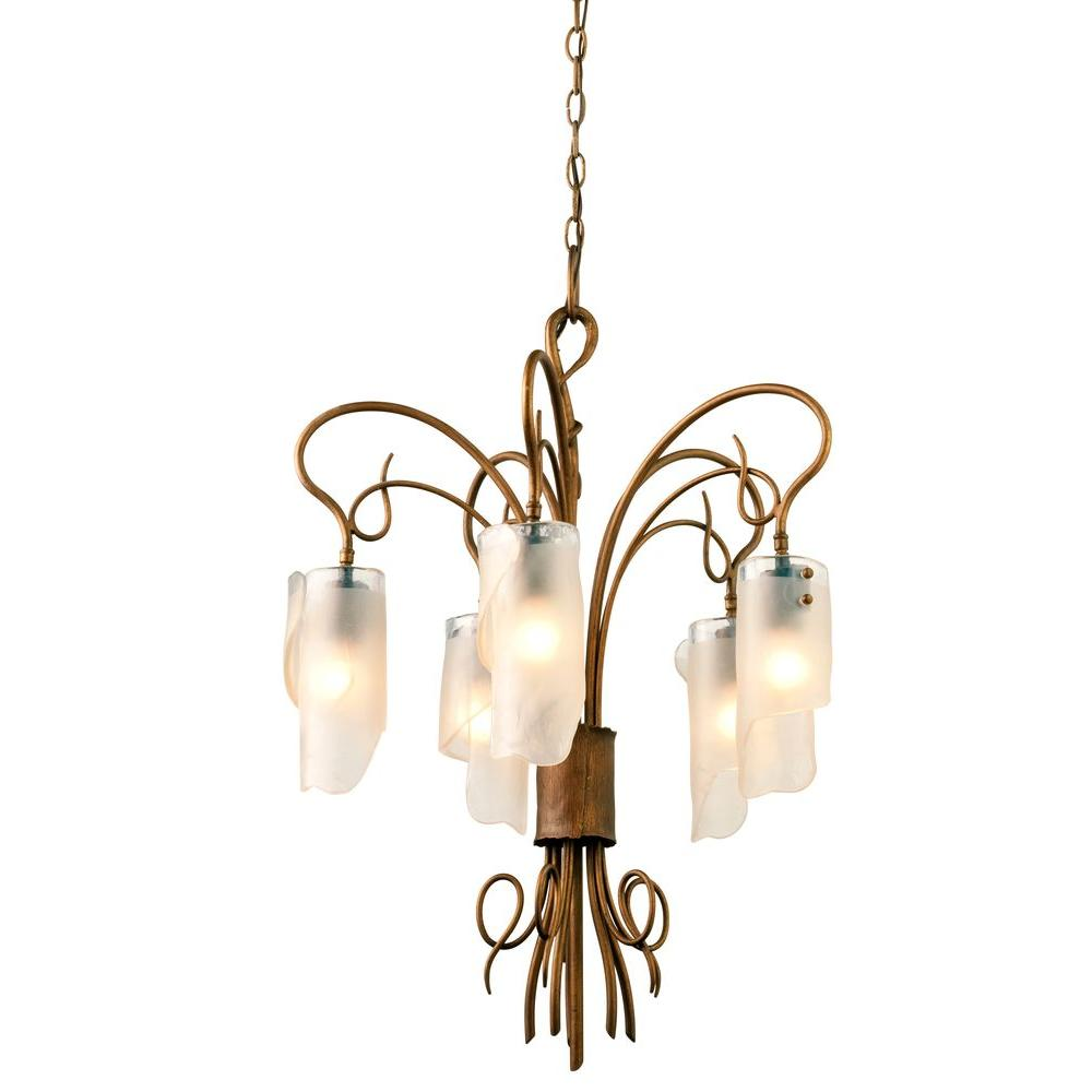 Varaluz Soho 5-Light Hammered Ore Chandelier with Brown Tint Ice Glass