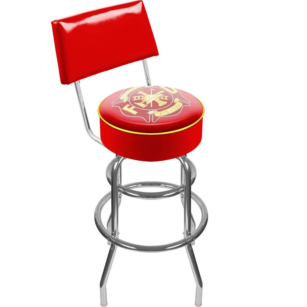 Trademark Fire Fighter 30 in. Chrome Swivel Cushioned Bar Stool