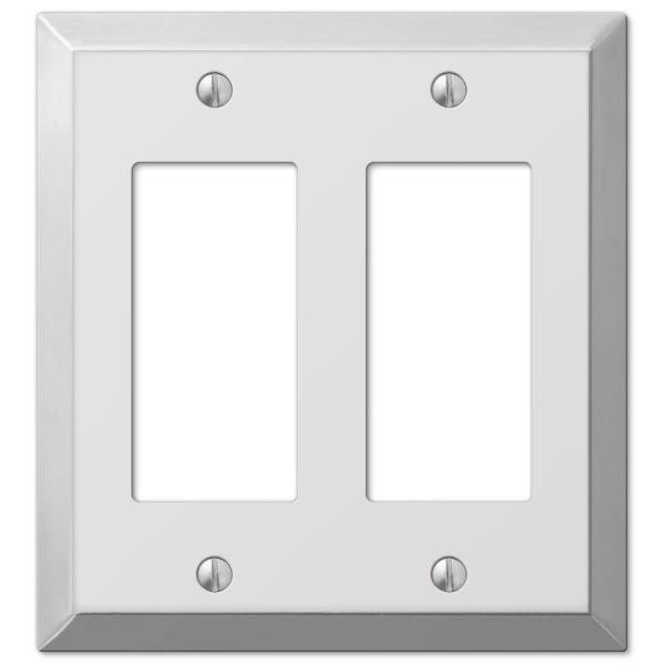 Amerelle Metallic 2 Gang Rocker Steel Wall Plate Polished Chrome 161rr The Home Depot