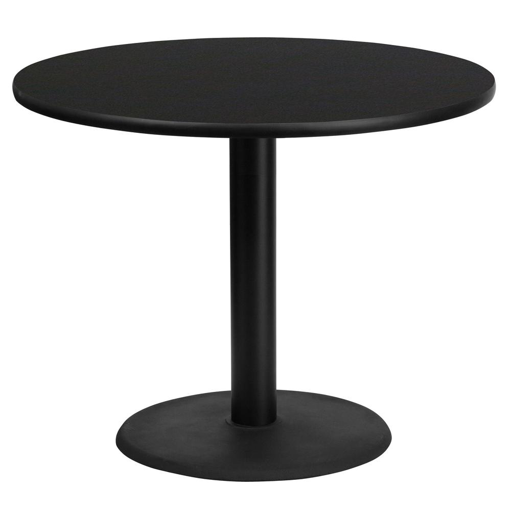 36u0026#39;u0026#39; Round Black Laminate Table Top With 24u0026#