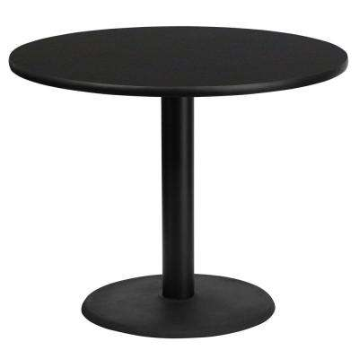 36'' Round Black Laminate Table Top with 24'' Round Table Height Base