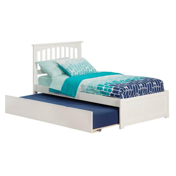 Atlantic Furniture Mission White Twin Platform Bed with Flat Panel Foot