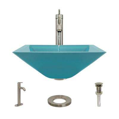 Glass Vessel Sink in Cerulean with R9-7001 Faucet and Pop-Up Drain in Bushed Nickel