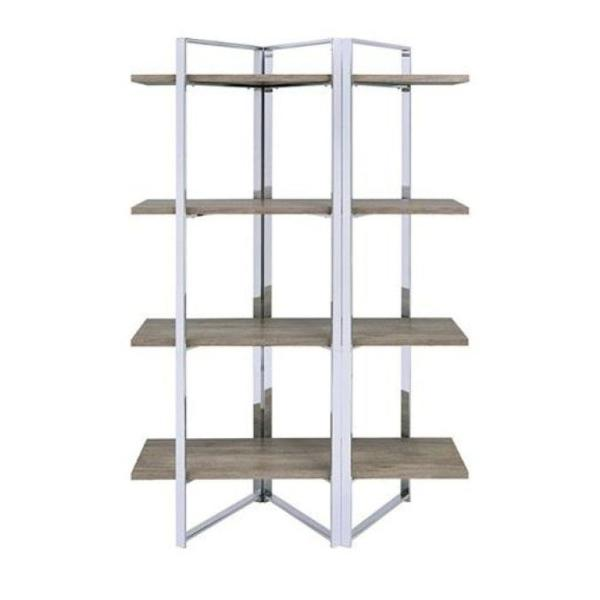 Geometric Metal Framed Brown and Silver with 4-Open Wooden Shelves Bookshelf