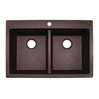 Primo Dual Mount Scratch Resistant Granite 33 in. 1-Hole Drop-in/Undermount Double Bowl Kitchen Sink in Brown Mocha