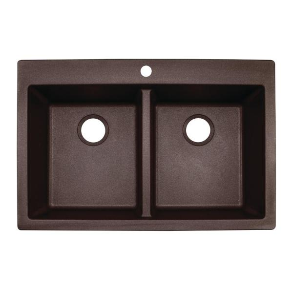 "Franke DIG62D91-MOC Primo 33"" Double Basin Undermount/Drop In Granite Kitchen Sink In Mocha"