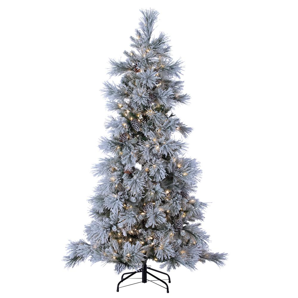 Sterling 7 Ft Indoor Pre Lit Led Lightly Flocked Snowbell Pine Artificial Christmas Tree 450 Ul Cool White Led Twinkling Lights