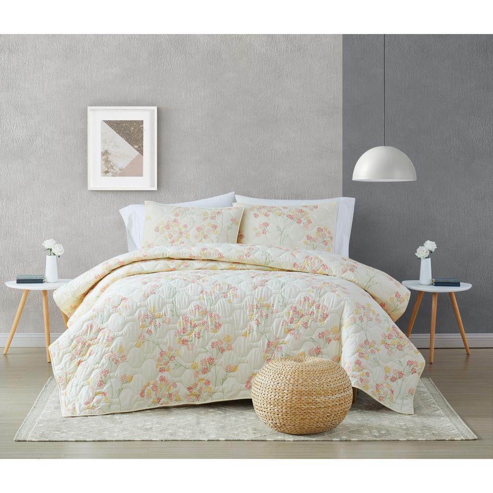 Vivian 3-Piece Off White MultiKing Cotton Quilt Set