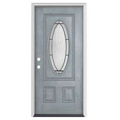 32 in. x 80 in. 3/4 Oval Lite Wendover Stone Stained Fiberglass Prehung Right-Hand Inswing Front Door