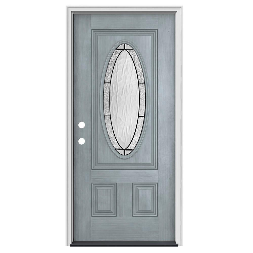 JELD WEN 34 In. X 80 In. 3/4 Oval Lite Wendover Stone Stained Fiberglass  Prehung Right Hand Inswing Front Door THDJW197300290   The Home Depot