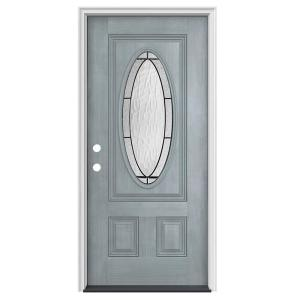 Jeld Wen 36 In X 80 In 3 4 Oval Lite Wendover Stone Stained Fiberglass Prehung Right Hand