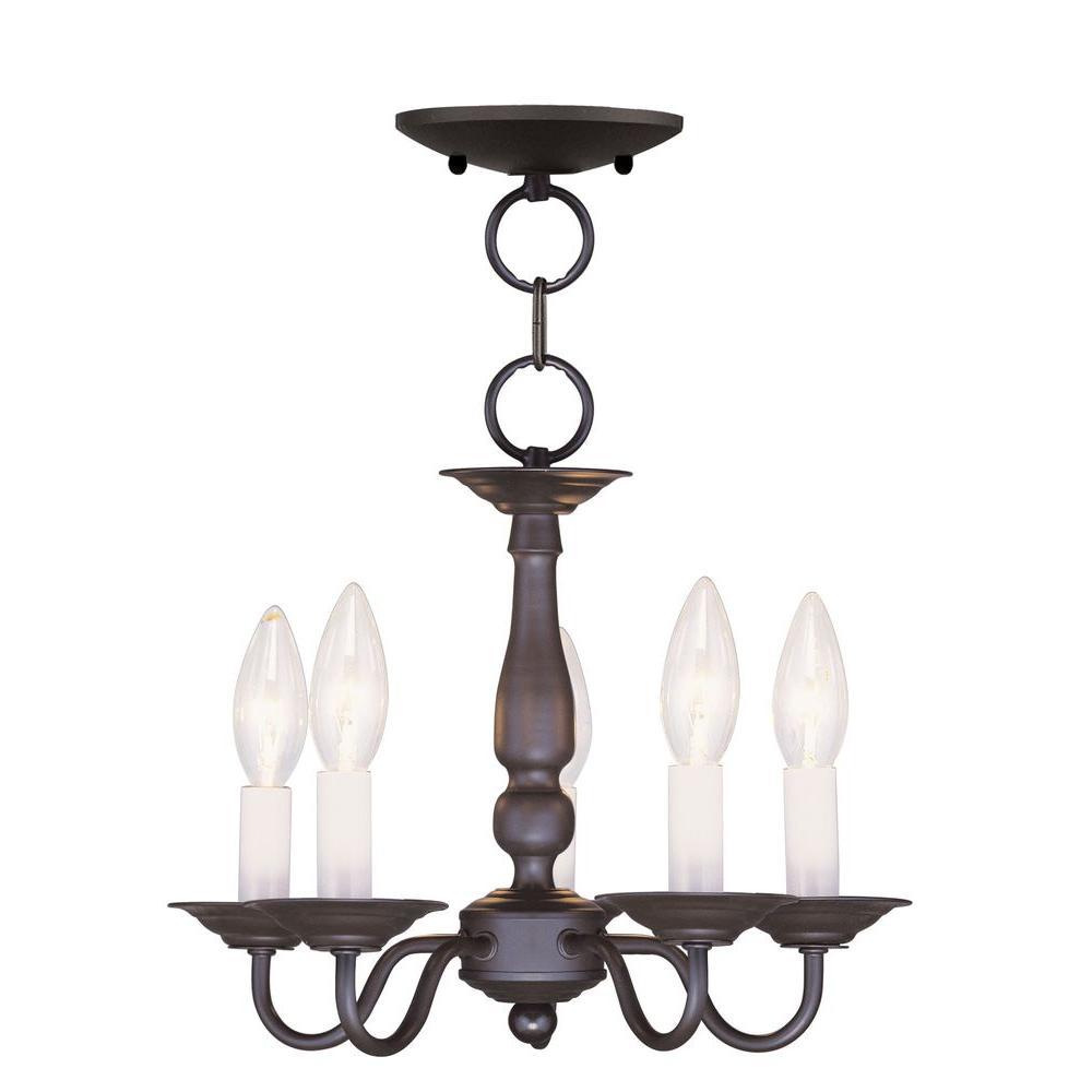 5-Light Bronze Chandelier