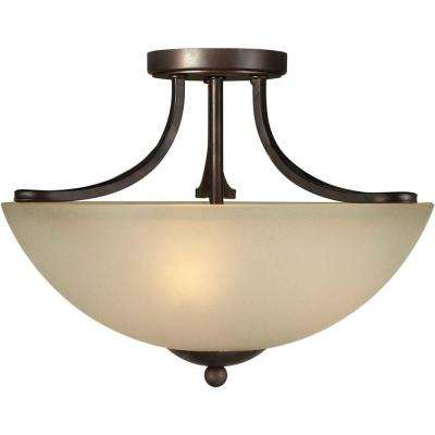 Tejas 3-Light Antique Bronze Semi-Flush Mount Light with Shaded Umber Glass