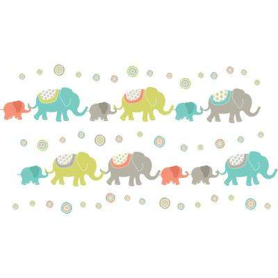 Multi-Color Tag Along Elephants Wall Decal