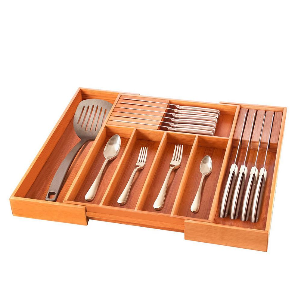Bambusi Bambusi Bamboo Expandable Kitchen Drawer Organizer with Knife Block, Light Brown Wood