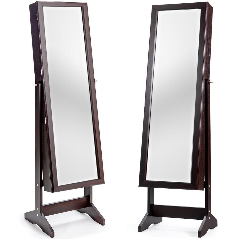 Rectangular Brown MDF Jewelry Cabinet Stand Large Storage Box