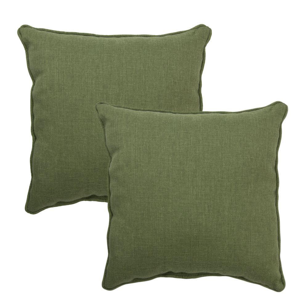 Hampton Bay 15 in. x 15 in. Moss Outdoor Throw Pillow (2-Pack)