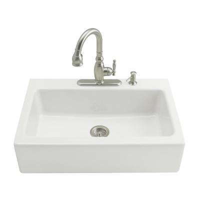 Dickinson Tile-In Farmhouse Apron-Front Cast Iron 33 in. 4-Hole Single Basin Kitchen Sink in White
