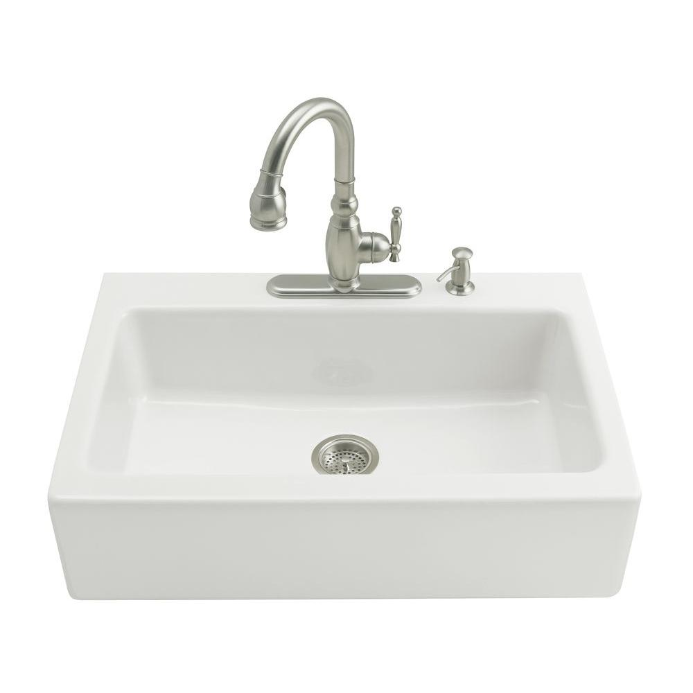 White Single Bowl Kitchen Sink.Kohler Dickinson Tile In Farmhouse Apron Front Cast Iron 33 In 4 Hole Single Bowl Kitchen Sink In White
