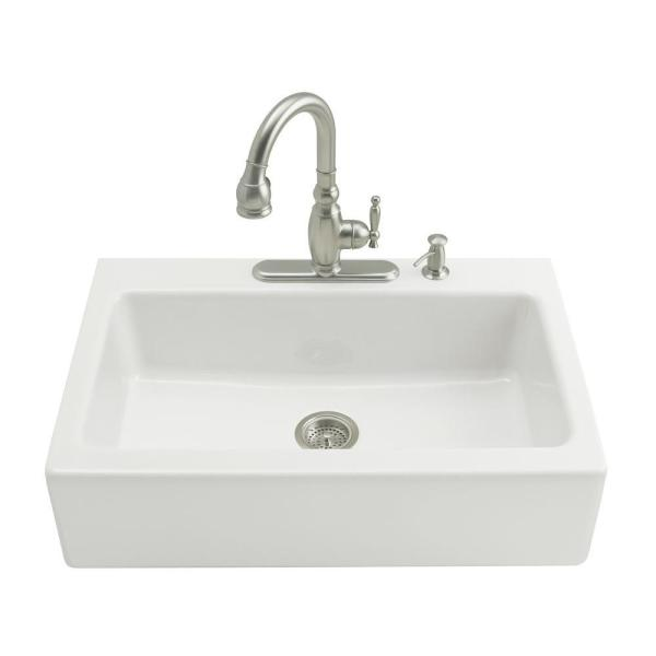 Dickinson Tile-In Farmhouse Apron-Front Cast Iron 33 in. 4-Hole Single Bowl Kitchen Sink in White