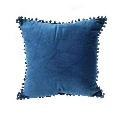 Pompom Navy Standard Decorative Pillow