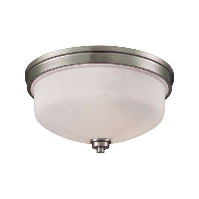 Casual Mission 3-Light Brushed Nickel With White Lined Glass Flushmount