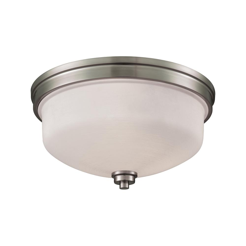Thomas Lighting Casual Mission 3-Light Brushed Nickel With White Lined Glass Flushmount