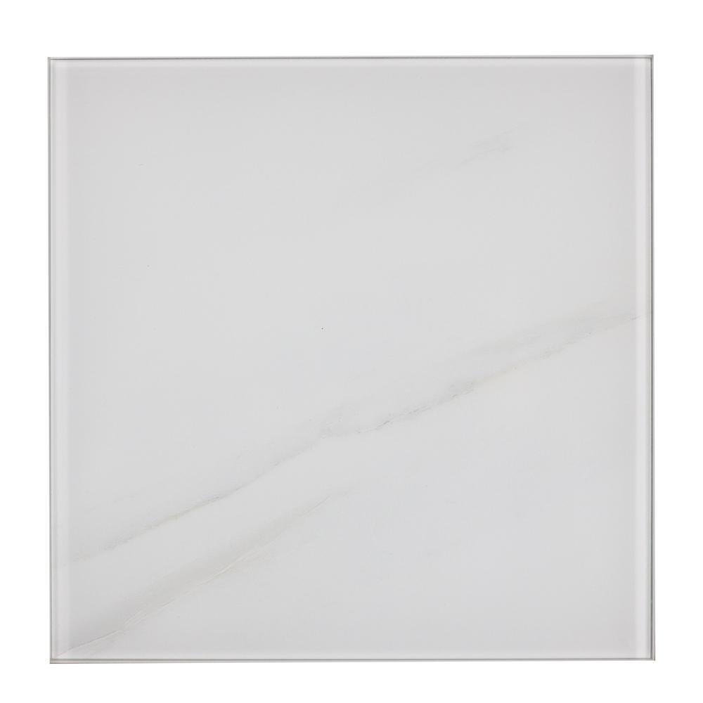 Nature 8 in. x 8 in. White Calacatta Glass Peel and