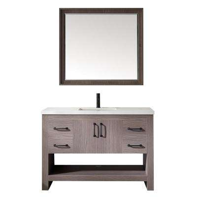 Bari 48 in. W x 22 in. D Bath Vanity in Dark Grey with Quartz Vanity Top in White with White Basin and Mirror