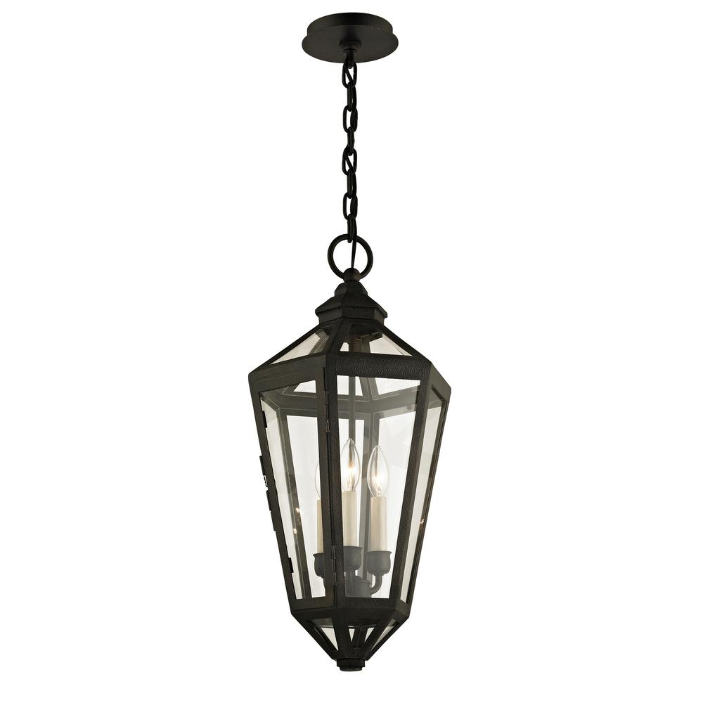Troy Lighting Calabasas Vintage Brown 3-Light 11.5 in. W Outdoor Hanging Light with Clear Glass