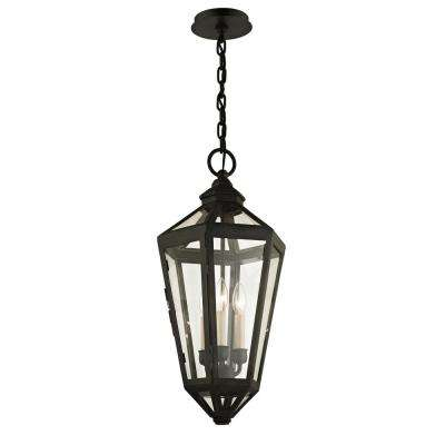 Calabasas Vintage Brown 3-Light 11.5 in. W Outdoor Hanging Light with Clear Glass