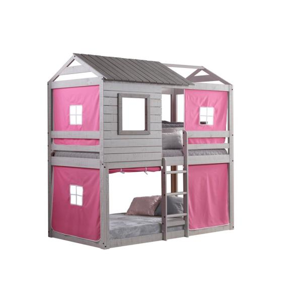 Donco Kids Deer Blind Pink Tent Twin Bunk Bed Loft 1370-TTLG_1370-DP