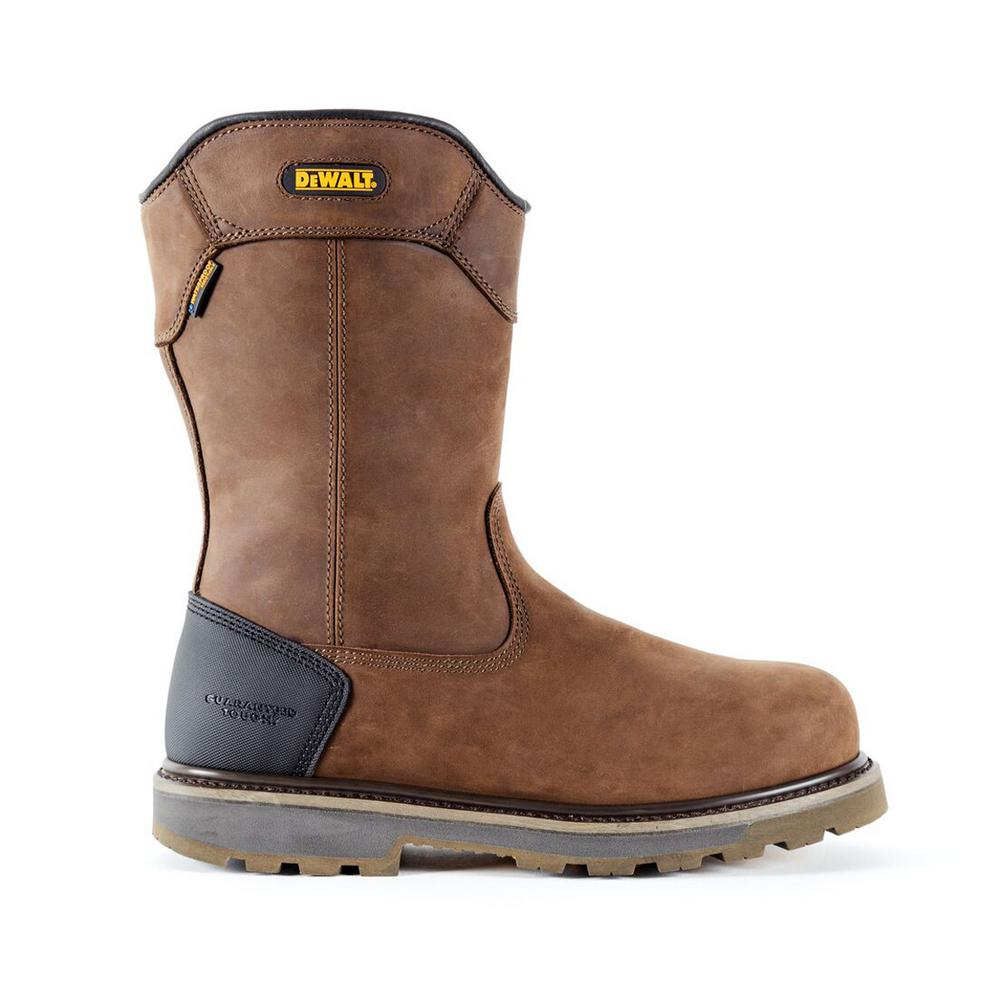 5294a92285e DEWALT Tungsten Pull-On Men's Dark Brown Leather Puncture Resistant  Aluminum Toe Waterproof 12 in. Work Boot