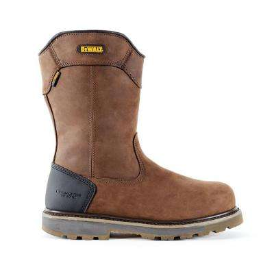 Tungsten Pull-On Men Dark Brown Leather Puncture Resistant Aluminum Toe Waterproof 12 in. Work Boot