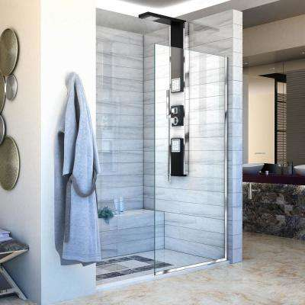 Linea 34 in. x 72 in. Semi-Frameless Fixed Shower Door in Chrome