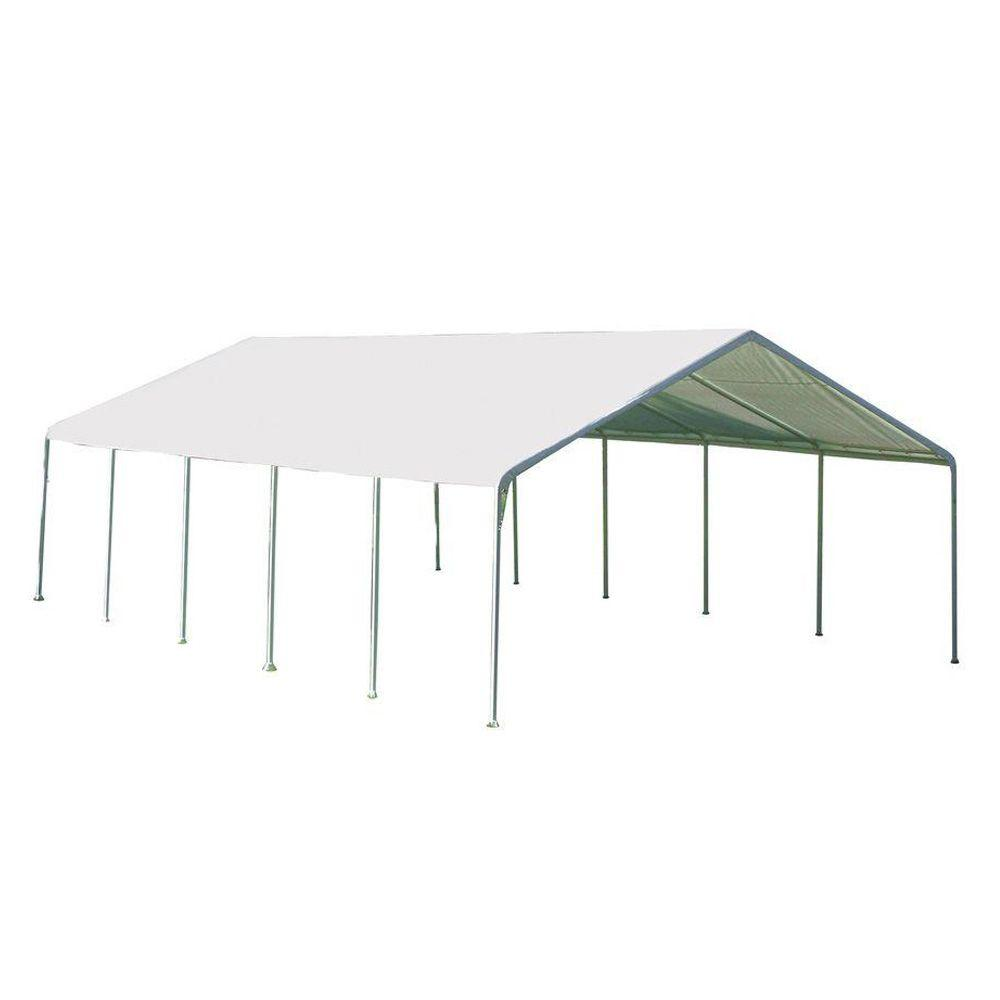 ShelterLogic 18 ft. W x 30 ft. D SuperMax Premium Canopy in White with Steel Frame and Patented Twist-Tie Tension Feature