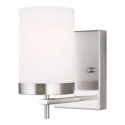 Zire 4.375 in. W 1-Light Brushed Nickel Vanity Light with Etched White Glass Shade with LED Bulb