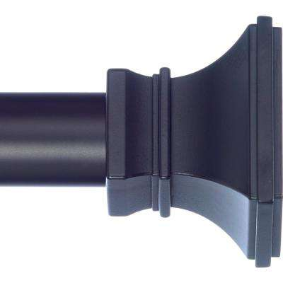 10 ft. Non-Telescoping Drapery Single Rod 1 1/8 in. with Rings in Black with Versailles Finials