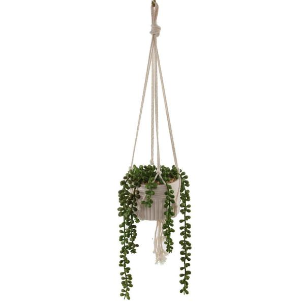 20 in. Artificial String of Pearls in Macrame Hanging Ceramic Planter