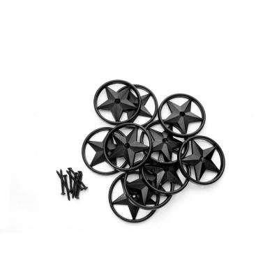 3-3/8 in. OD Black Powder-Coated Aluminum Metal Star (100-Pack)