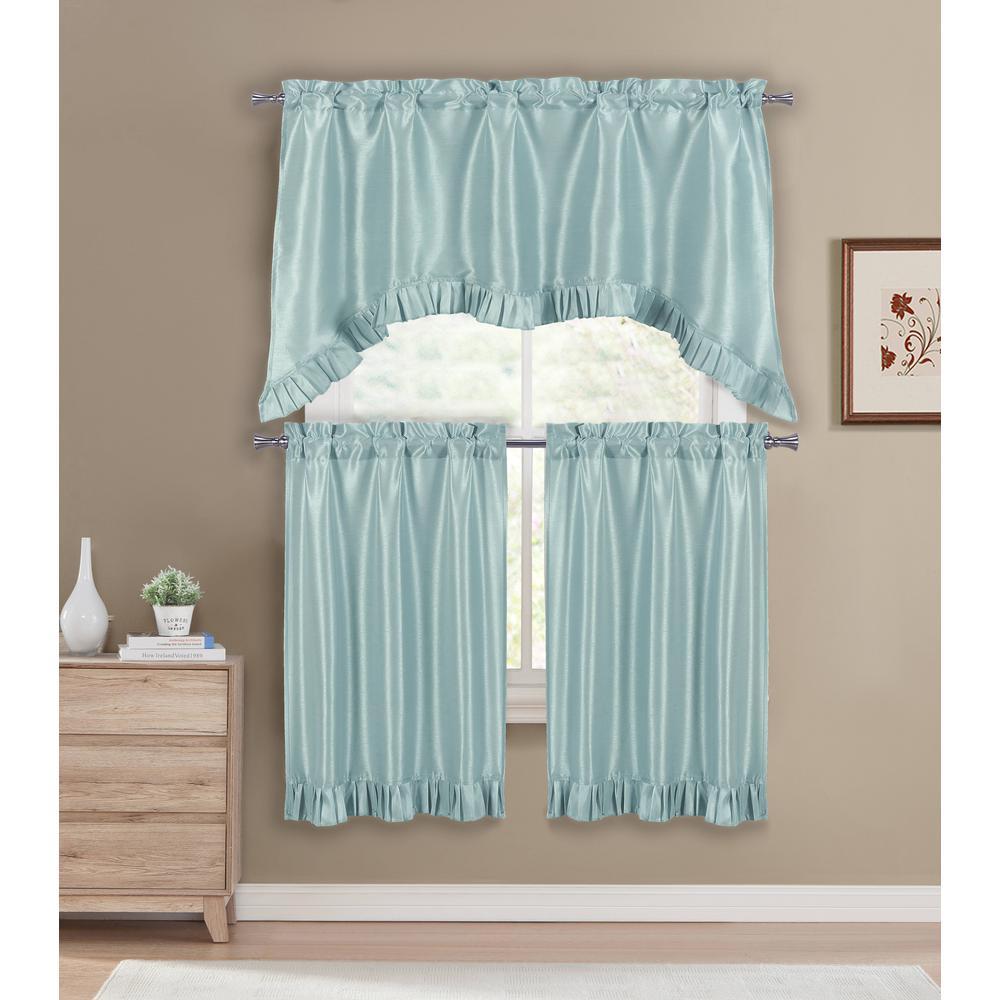 Duck River Bella Aqua Blue Room Darkening Kitchen Curtain Set - 55 in. W x  36 in. L (3-Piece)