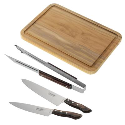 Churrasco 2-Piece Chef's Knife Set, Grill Tongs and Cutting Board (3-Pack)