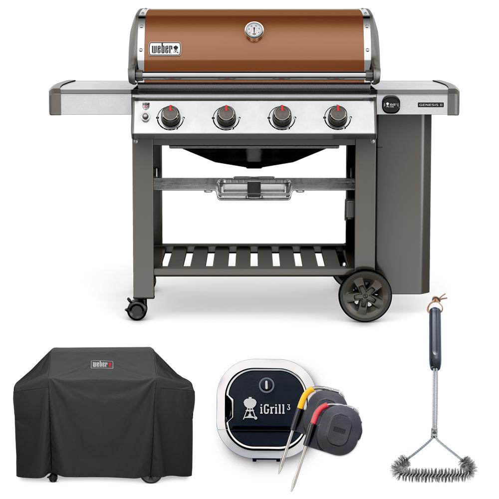 weber genesis ii e-410 liquid propane grill combo with grill brush