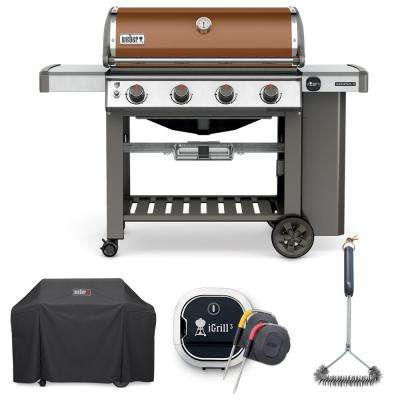 Genesis II E-410 Liquid Propane Grill Combo with Grill Brush, Cover, and iGrill 3 Thermometer