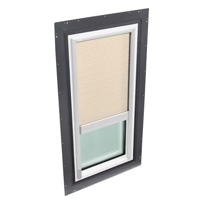 22-1/2 in. x 46-1/2 in. Fixed Self Flashed Skylight with Tempered Low-E3 Glass and Beige Manual Room Darkening Blind