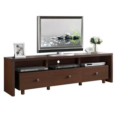 75 in. Hickory Particle Board TV Stand with 3 Drawer Fits TVs Up to 65 in. with Cable Management
